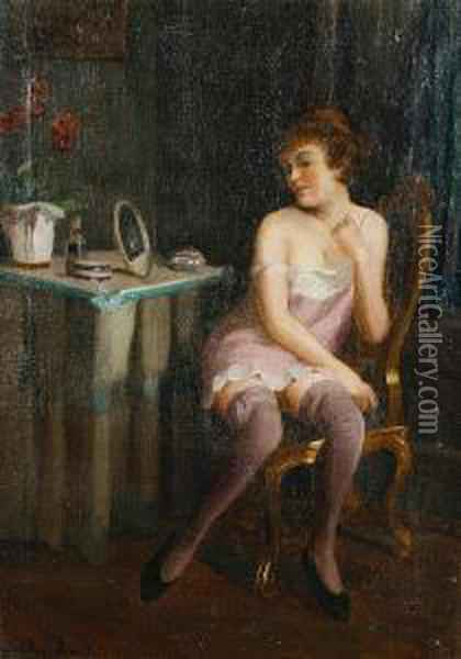 A Lady At Her Toilette Oil Painting - Emil Pap