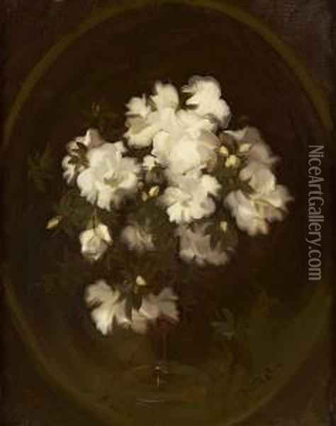 Still Life Of White Roses Oil Painting - James Stuart Park
