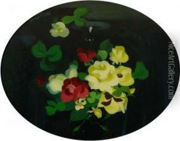 Still Life With Yellow, Red And White Roses Oil Painting - James Stuart Park