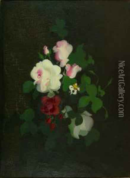 Still Life With Pink, White, And Red Roses Oil Painting - James Stuart Park