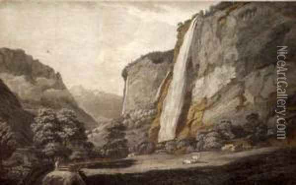 The Valley Of Luterbrun In The Canton Of Berne  Switzerland Oil Painting - William Pars