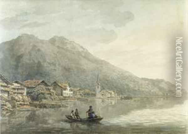 Gersau On The Lake Of Lucerne, Switzerland Oil Painting - William Pars