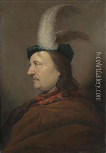 Portrait Of A Gentleman, Head And Shoulders, In Profile, Wearing A Blue Hat With White Feathers And A Brown Cloak With A Red Scarf Oil Painting - Christoph Paudiss