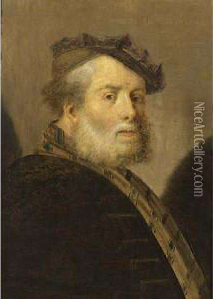 A Bearded Old Man, Bust Length, Wearing A Brown Cap;  A Bearded Old Man, Bust Length,  En Profile , Wearing A Blue Cap Oil Painting - Christoph Paudiss