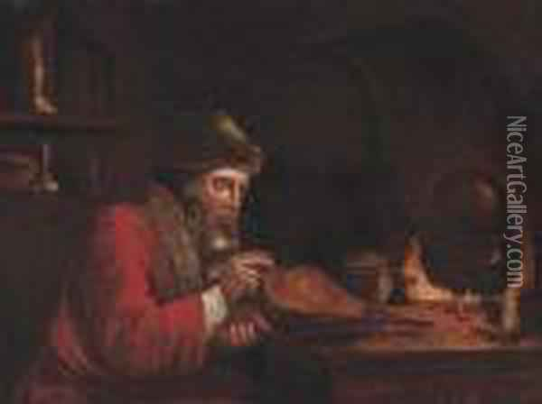 An Alchemist By A Stove In An Interior Oil Painting - Christoph Paudiss