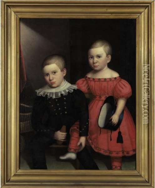 Portrait Of Two Brothers Oil Painting - Robert Deacon Peckham