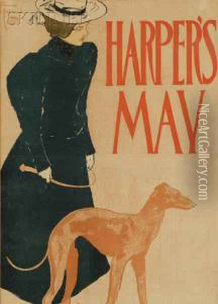 Harper's May Oil Painting - Edward Penfield