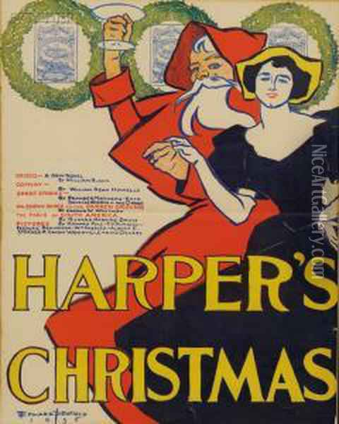 Harper's Christmas Oil Painting - Edward Penfield