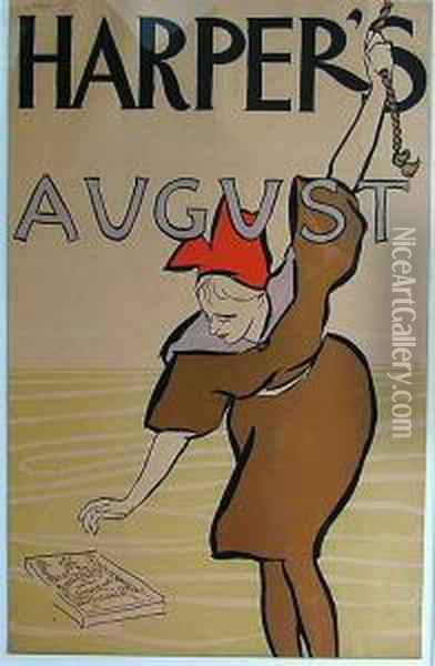 Poster Harper's August Oil Painting - Edward Penfield