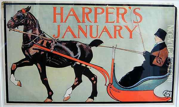 Poster Harper's January Oil Painting - Edward Penfield