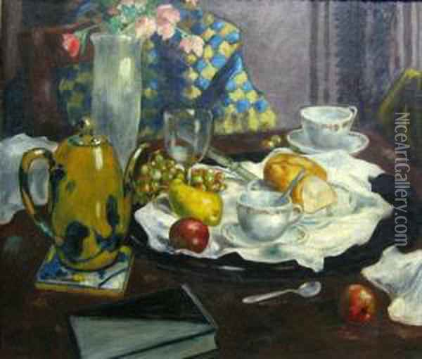 Still Life With Checkered Cloth Oil Painting - Martin Petersen