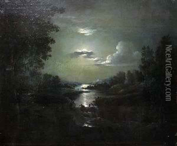 Moonlit River Landscape With Ruins Oil Painting - Abraham Pether