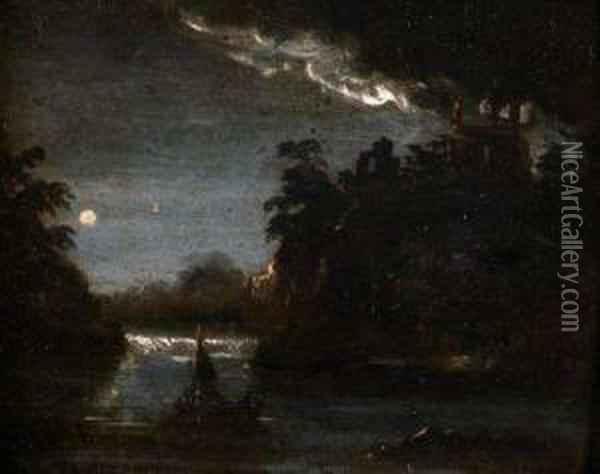 A Moonlit River Landscape With Boats Oil Painting - Abraham Pether