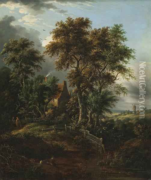 A Wooded Landscape With An Angler By A Cottage And A Windmill Beyond Oil Painting - Abraham Pether