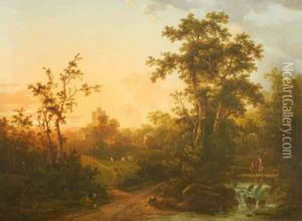 Figures In A Landscape With A Church Beyond Oil Painting - Abraham Pether