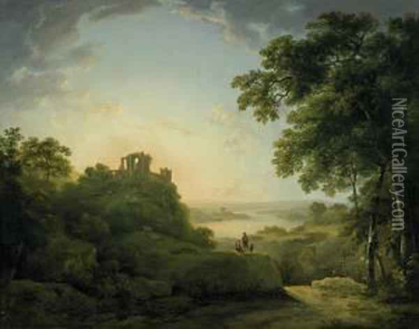 Wide Riverscape With Shepherds Underneath A Castle Ruin Oil Painting - Abraham Pether