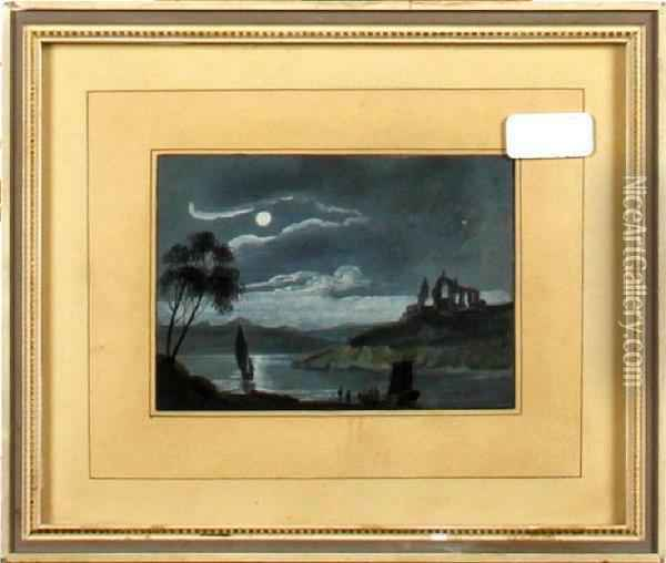Moonlight Over A Lake And Ruins Oil Painting - Abraham Pether