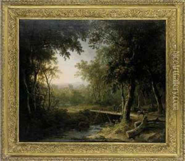 A Wooded River Landscape With A Traveller Crossing A Bridge Oil Painting - Abraham Pether