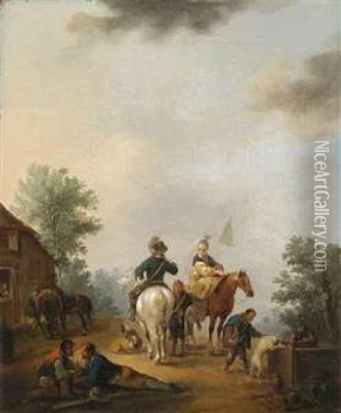 Horseman And Horsewoman In Front Of A Fountain And Horseman And Horsewoman In Front Of A City Wall Oil Painting - Johann Georg Pforr