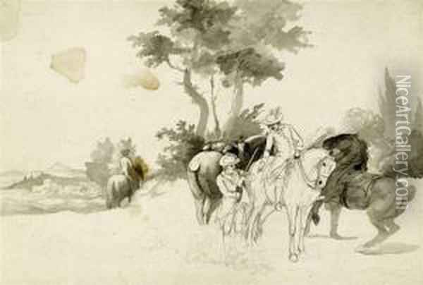 Mostly Studies And Sketches Of Horses, Riding And Hunting Scenes Oil Painting - Johann Georg Pforr