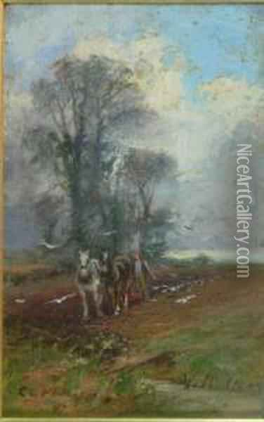 Ploughing In March Oil Painting - Charles Gustav Louis Phillips