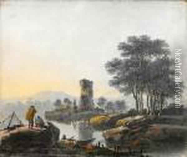 A River Landscape Oil Painting - Jean-Baptiste Pillement