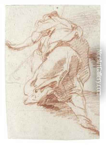 Recto: Study Of A Kneeling Figure, Seen From Behind Oil Painting - Sebastiano Ricci