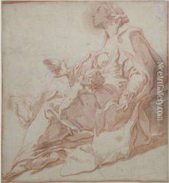 Seated Woman Holding A Child And Begging Oil Painting - Sebastiano Ricci