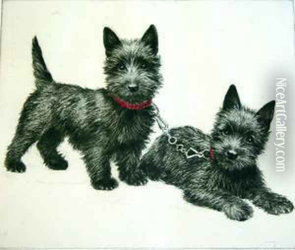 Two Scottish Terriers; Child With A Terrier Oil Painting - Meta Pluckebaum