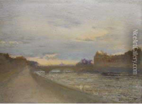 Evening View Of The Seine By The Louvre Oil Painting - Ivan Pavlovich Pokhitonov