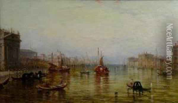 Gondolas And Sailing Boats On The Grand Canal, Venice Oil Painting - Alfred Pollentine