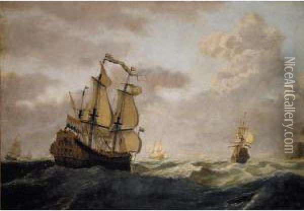 A Squadron Of Dutch Men-of-war In Open Seas Oil Painting - Gerrit Pompe