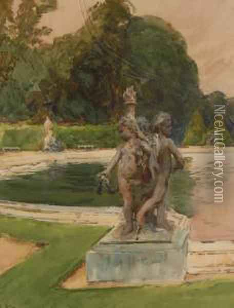 Garden Statue By A Pond Oil Painting - Arthur Pond