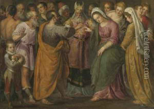 The Marriage Of Joseph And Mary Oil Painting - Giuseppe Salviati