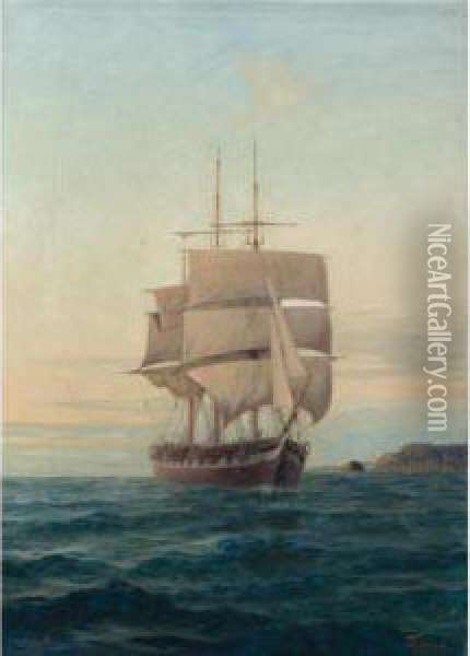 Triple-masted Ship Oil Painting - Ioannis Poulakas