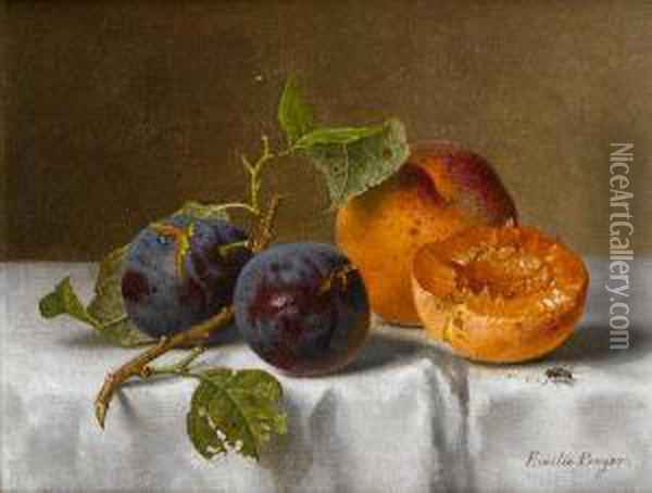 Plums And Apricots Oil Painting - Emilie Preyer