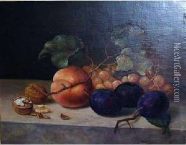 Still Life With Fruit Oil Painting - Emilie Preyer