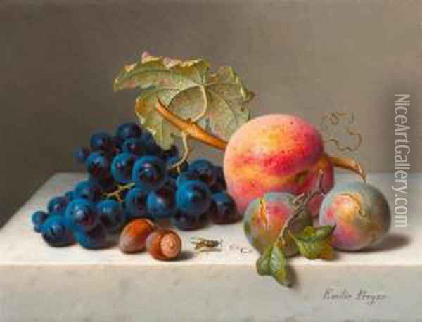 Still Life With Grapes. Oil Painting - Emilie Preyer