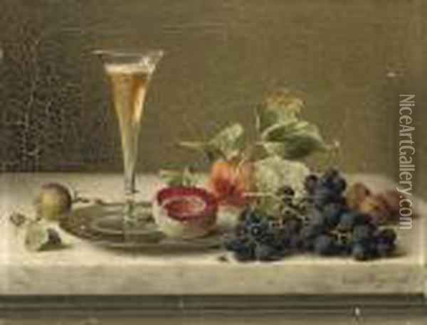A Flute Of Champagne, Fruits And Nuts On A Silver Platter Oil Painting - Emilie Preyer