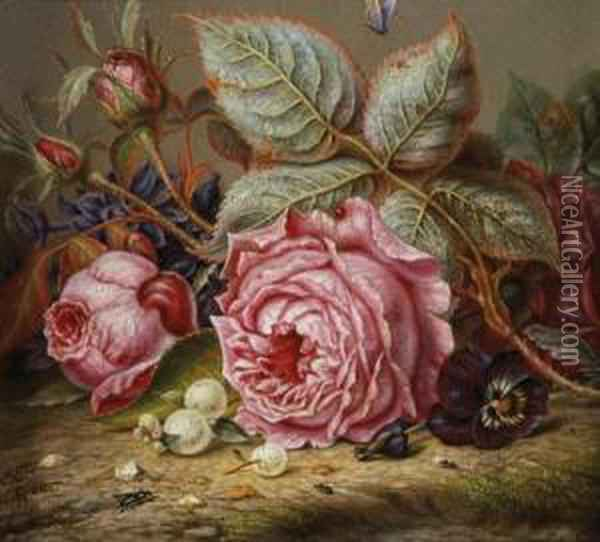 German, - Still Life With Roses, Apansy And Snowberries Oil Painting - Emilie Preyer
