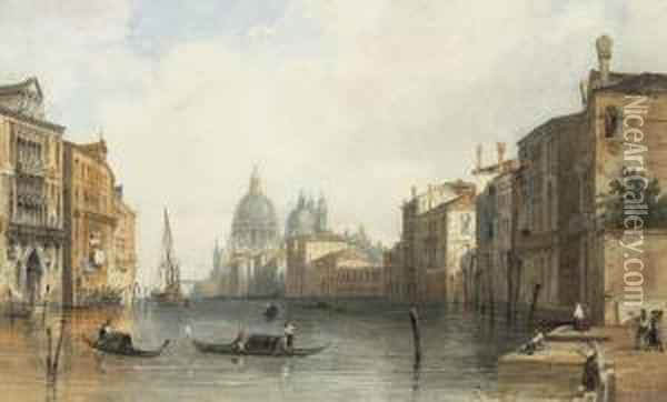 The Grand Canal, Venice, Looking Toward The Salute Oil Painting - Edward Pritchett