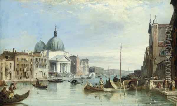 San Simeon Piccolo On The Grand Canal, Venice Oil Painting - Edward Pritchett