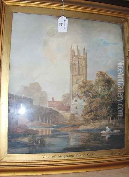 Magdalen Tower, Oxford, Inscribed Verso Oil Painting - William Henry Pyne