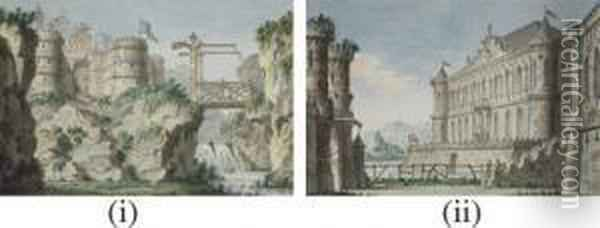 Two Stage Designs: A Fortress On A Mountain, And Lothar Castle Oil Painting - Lorenzo I Quaglio