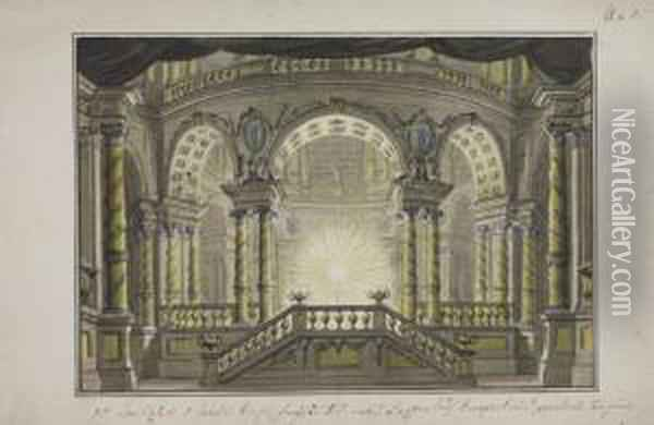 A Stage Design: The Interior Of A Temple Oil Painting - Lorenzo I Quaglio