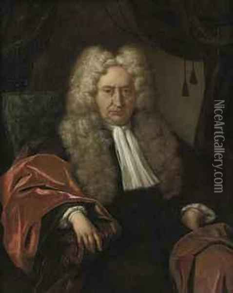 Portrait Of A Gentleman, Three-quarter-length, In A Black Costumeand A Red Velvet Cloak, Seated In A Chair Oil Painting - Jan Maurits Quinkhard
