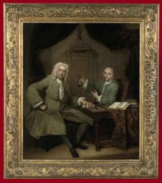 Double Portrait Of Michiel De Roode And Jan Punt Oil Painting - Jan Maurits Quinkhard