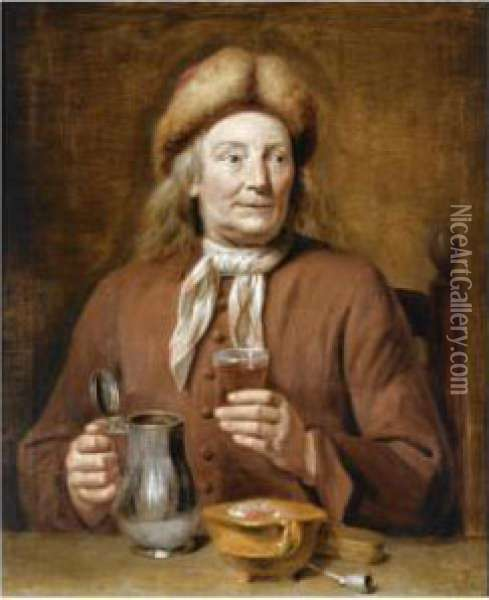 A Man Sitting At A Table Holding A Glass Of Beer Oil Painting - Jan Maurits Quinkhard