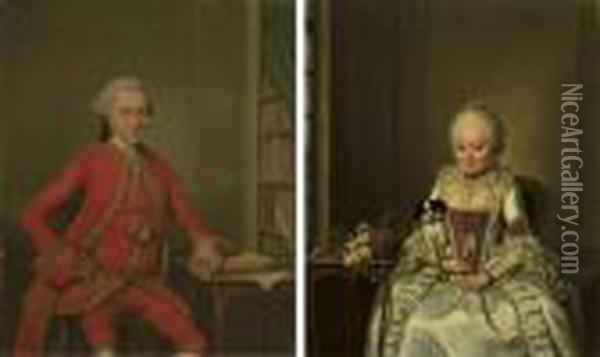 Portrait Of Gentleman Said To Be Hendrik De Roo, Three-quarter-length, In A Red Costume And Wig; And Portrait Of A Lady Said To Be Hester Constantia De Witt, Three-quarter-length, In A White Satin Dress Oil Painting - Jan Maurits Quinkhard