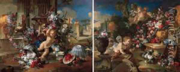 A Putto Seated On A Pedestal At The Foot Of Columns By A Sculpted Urn Decorated With A Garland Of Flowers; And A Putto Seated By A Fountain With Bouquets Of Flowers In Sculpted Vases And Classical Ruins Decorated With Garlands Of Flowers, In Classical Gar Oil Painting - Vittorio Amedeo Rapous